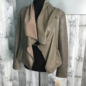 Women's Genuine Leather drape jacket